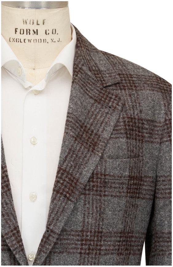 Brunello Cucinelli Gray & Burgundy Plaid Wool Sportcoat
