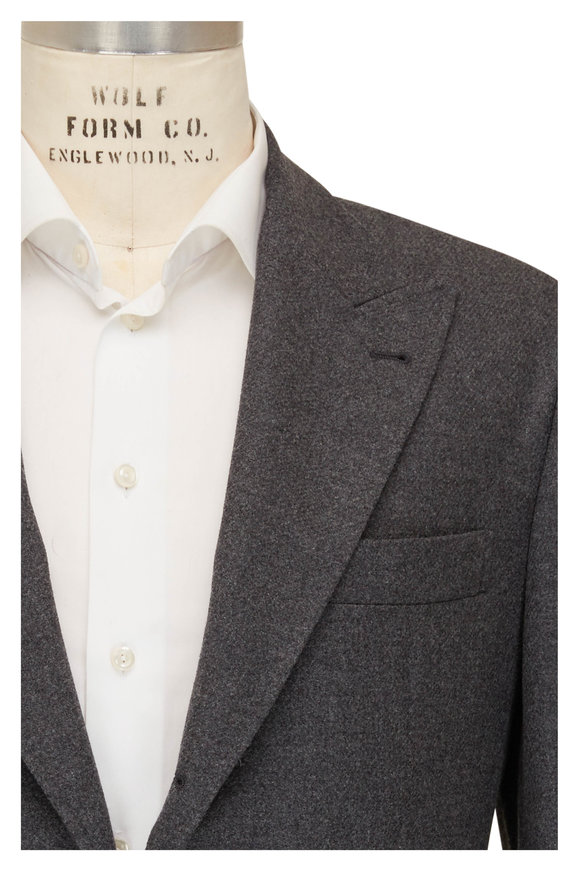 Brunello Cucinelli Charcoal Gray Wool, Silk & Cashmere Sportcoat