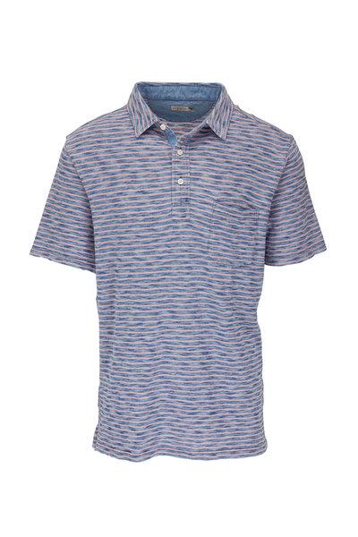 Faherty Brand - Indigo Baypoint Striped Pocket Polo