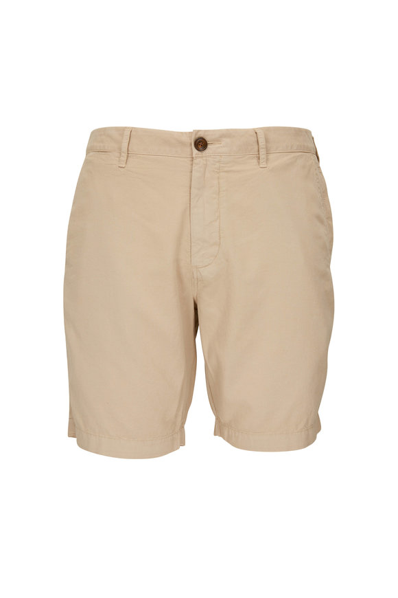 Faherty Brand Harbor Khaki Cotton Blend Shorts