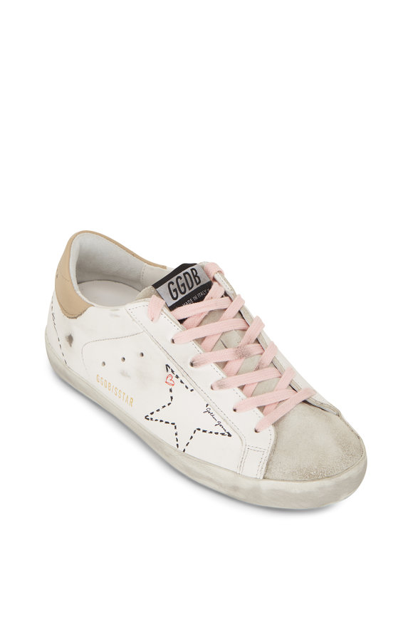 Golden Goose Superstar White Dot Star & Tan Heel Sneaker