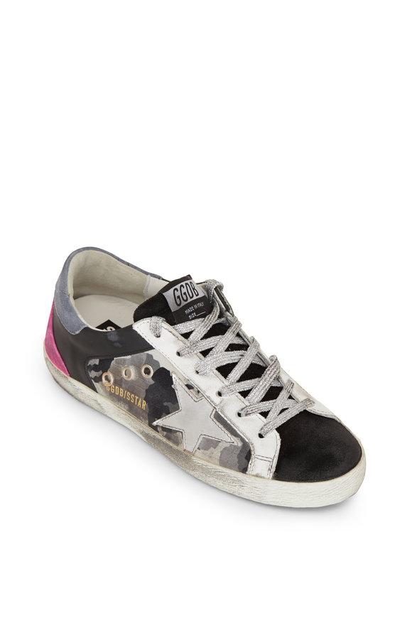 Golden Goose Superstar Camo Silver Star & Pink Heel Sneaker