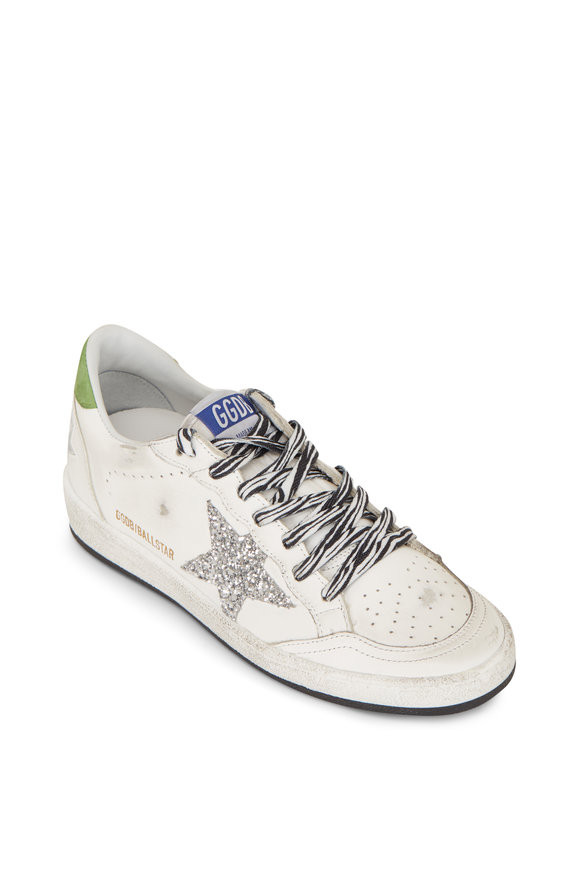 Golden Goose Ball Star White Silver Star Green Heel Sneaker