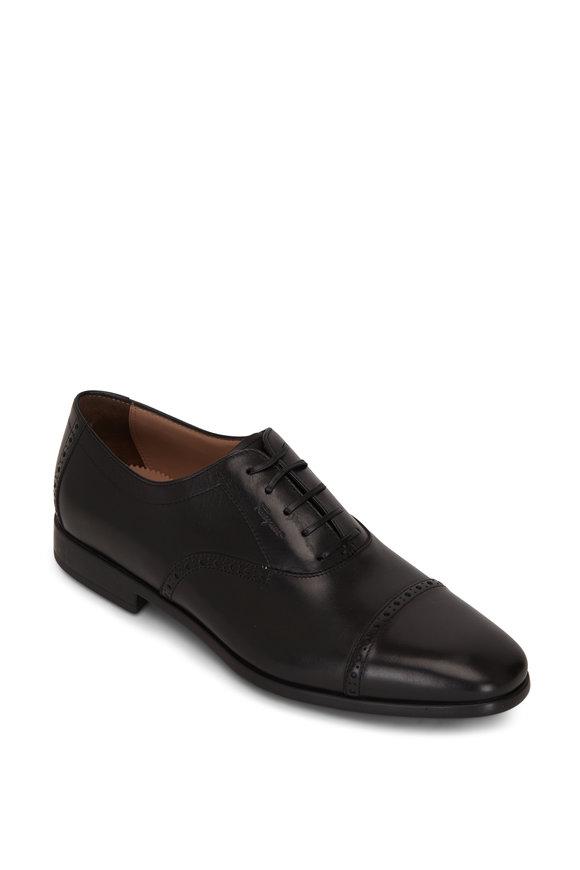 Salvatore Ferragamo Riley Black Leather Lace Up Oxford