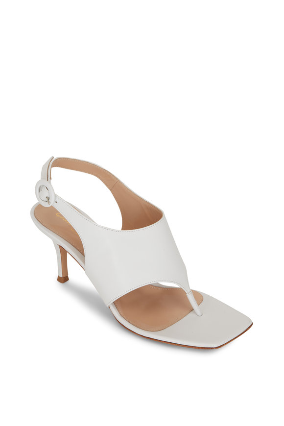 Gianvito Rossi White Leather Square Toe Slingback Flip Flop, 70mm