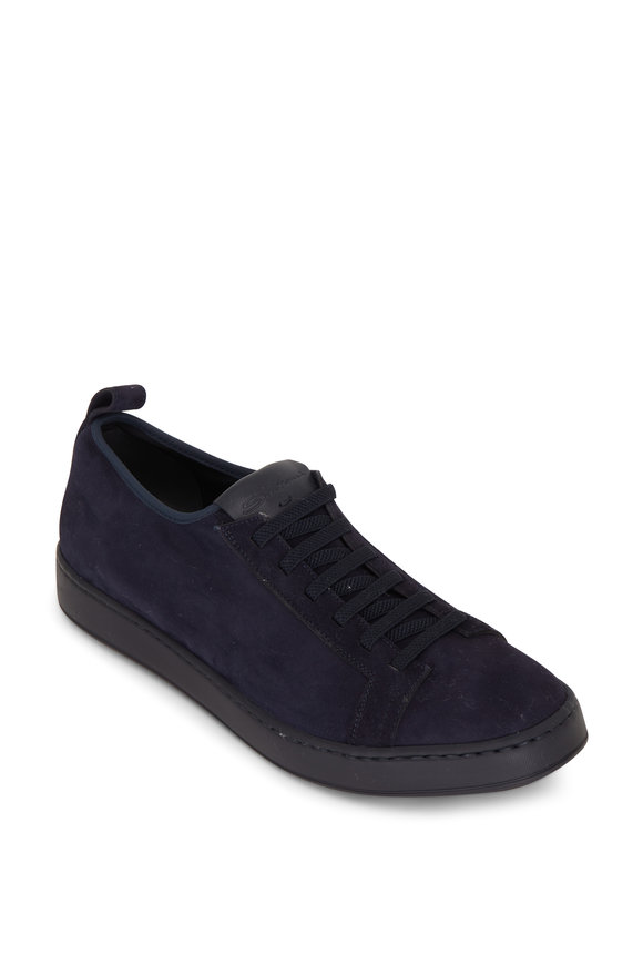 Santoni Mantis Navy Suede Low-Top Sneaker