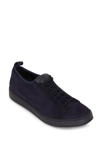 Santoni - Mantis Navy Suede Low-Top Sneaker