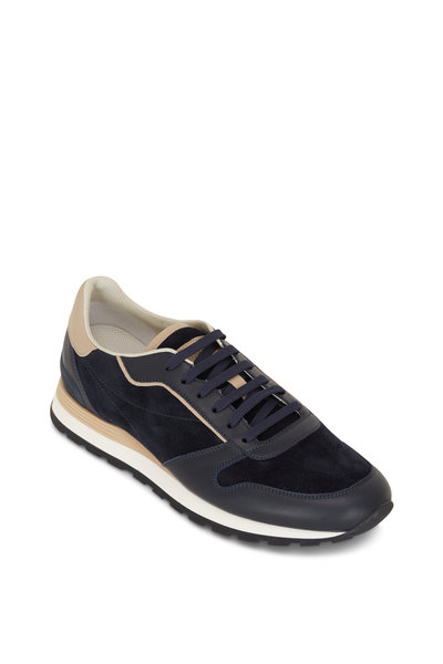 Brunello Cucinelli - Navy Suede & Leather Running Sneakers