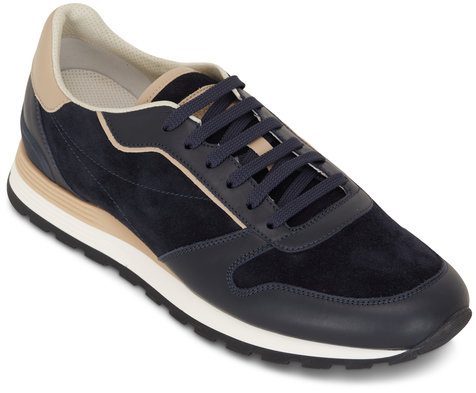 Brunello Cucinelli Navy Suede & Leather Running Sneakers