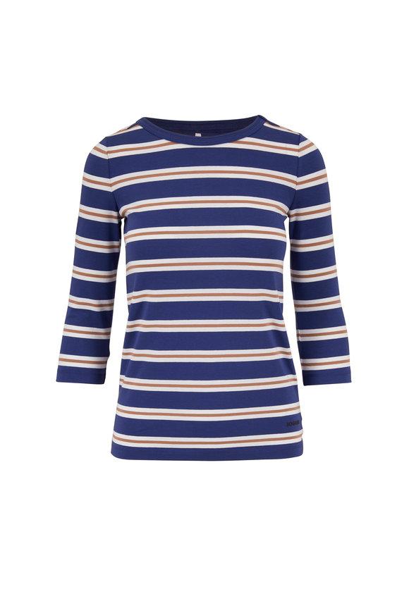 Bogner Carolina Blue Striped Three-Quarter Sleeve Top