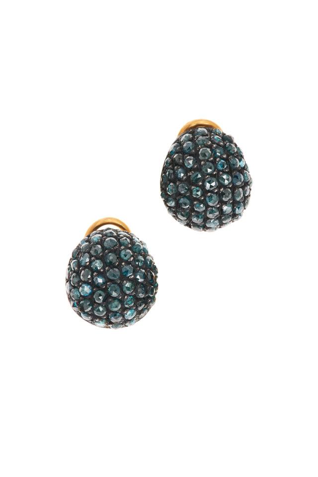 Roxanne Yellow Gold Teal Diamond Earrings