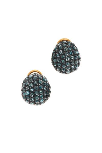 Yossi Harari - Roxanne Yellow Gold Teal Diamond Earrings