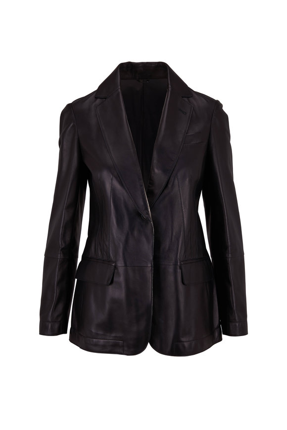 Brunello Cucinelli Black Leather Seamed Single Button Jacket
