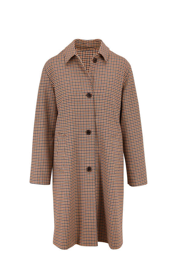 Nili Lotan Watson Tan Check Duster Coat