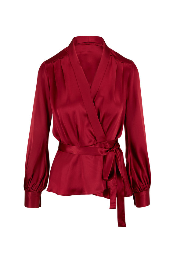 L'Agence Marsden Red Silk Wrap Blouse