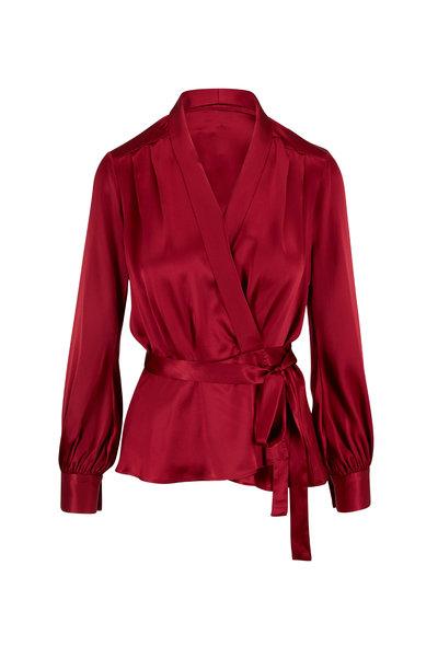 L'Agence - Marsden Red Silk Wrap Blouse