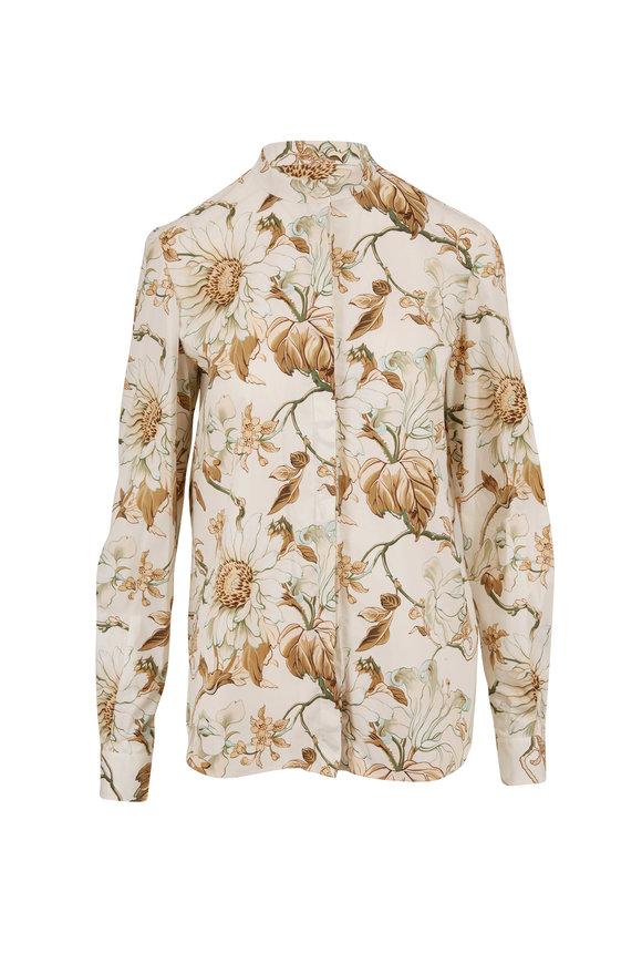 Oscar de la Renta Ivory Floral Button Down Blouse