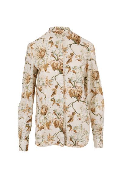 Oscar de la Renta - Ivory Floral Button Down Blouse