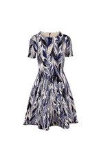 Oscar de la Renta - Blue Patterned Short Sleeve Knit Dress