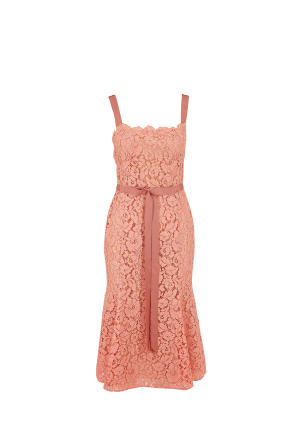 Oscar de la Renta Blush Lace Sleeveless Dress