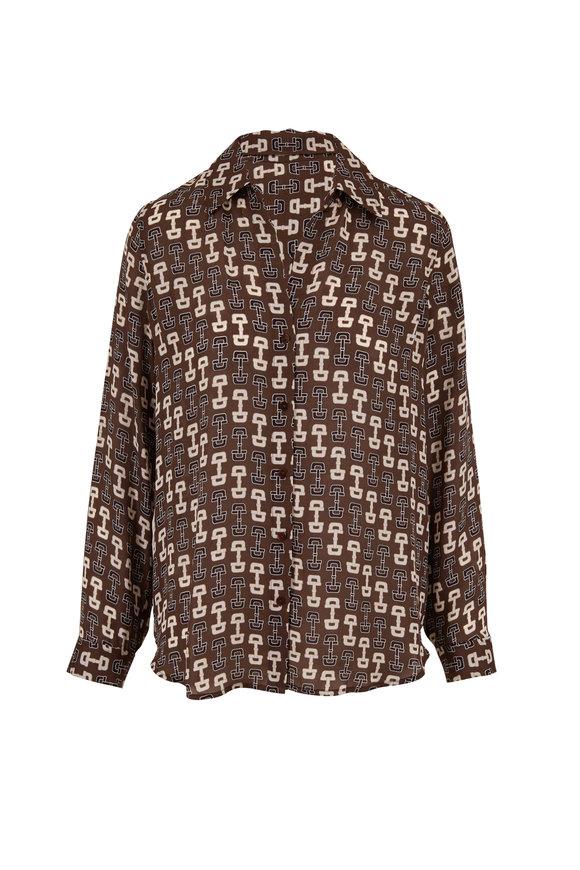 L'Agence Nina Multi Buckle Print Silk Blouse