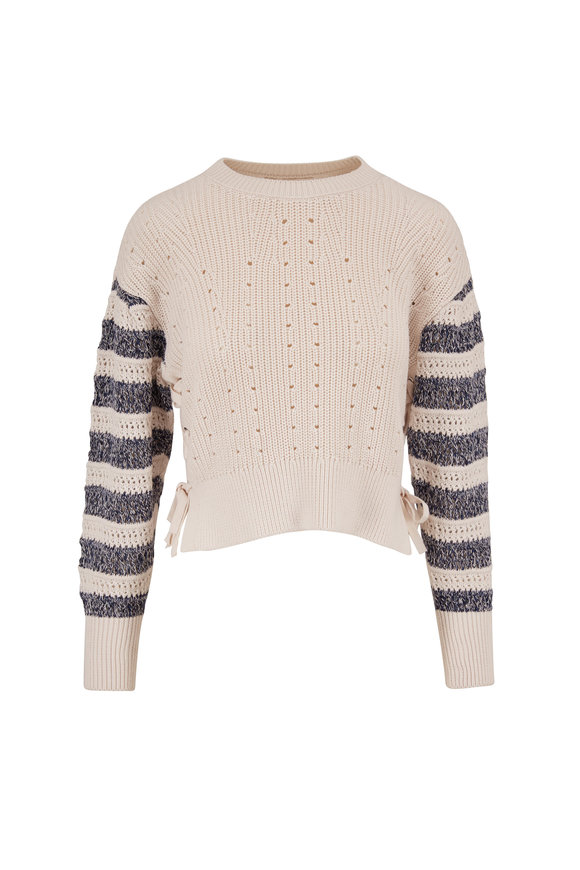 Jonathan Simkhai Savi Natural Stripe Sleeve Sweater