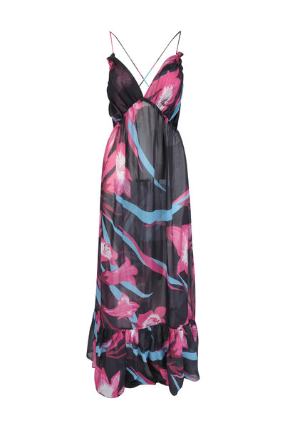 Sinesia Karol - Mariah Black & Fuschia Floral Maxi Dress