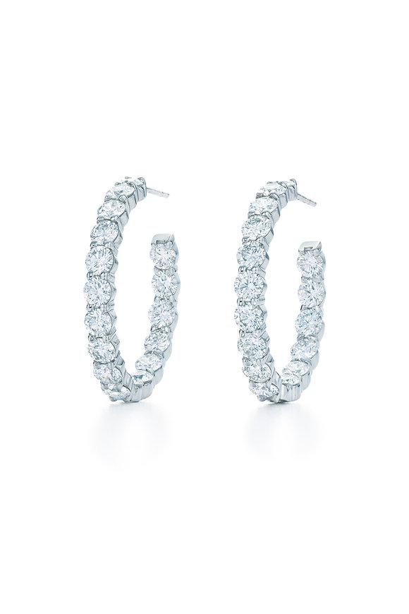 """Kwiat 18K White Gold Diamond Hoop Earrings, 1"""""""