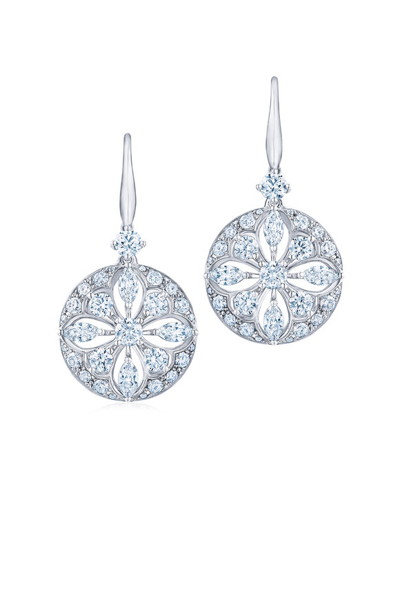 Kwiat 18K White Gold Diamond Circle Drop Earrings