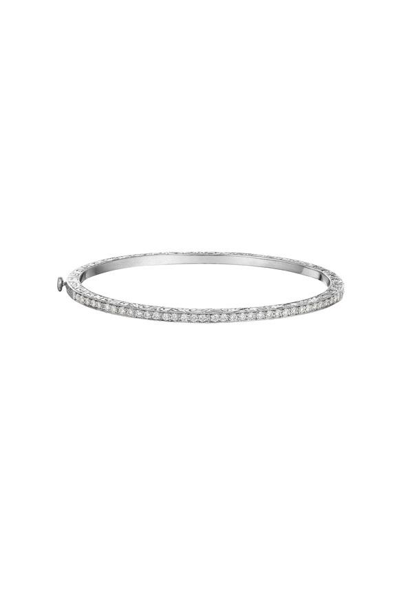 Penny Preville White Gold Thin Diamond Bangle Bracelet