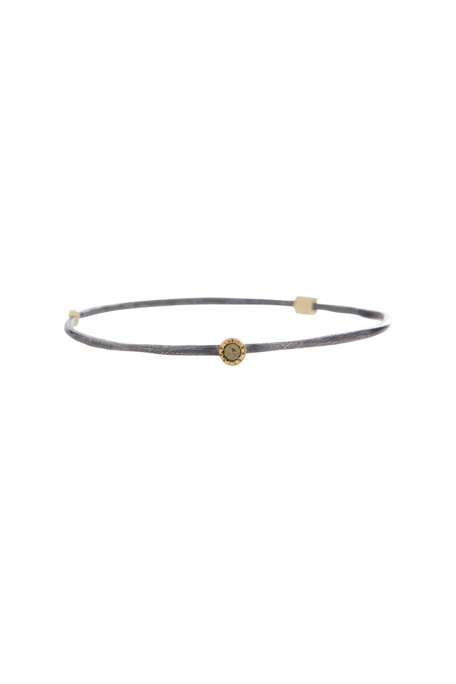 Yellow Gold Rose-Cut & Raw Diamond Bangle Bracelet