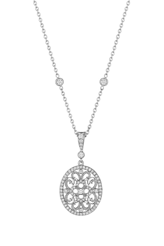 White Gold Round Curly Lace Diamond Enhancer