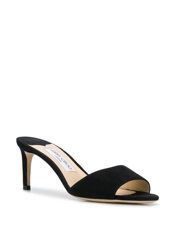 Jimmy Choo Stacey Black Suede Open Toe Sandal Mule, 65mm