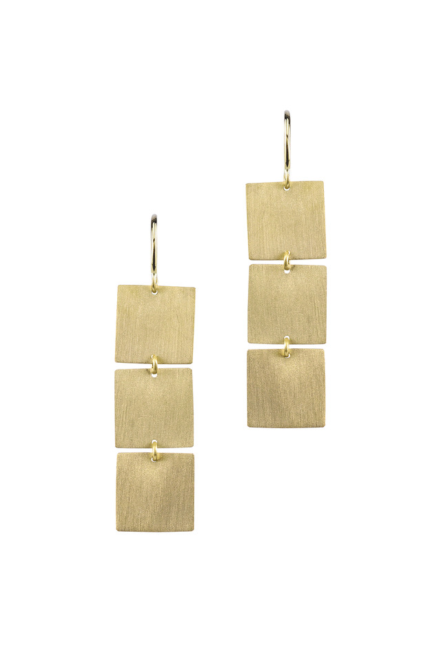 Yellow Gold Three Square Drop Gold Earrings