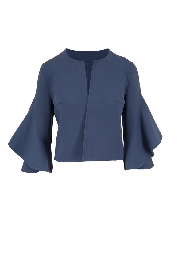 Michael Kors Collection Storm Blue Bouclé Ruffled-Sleeve Jacket
