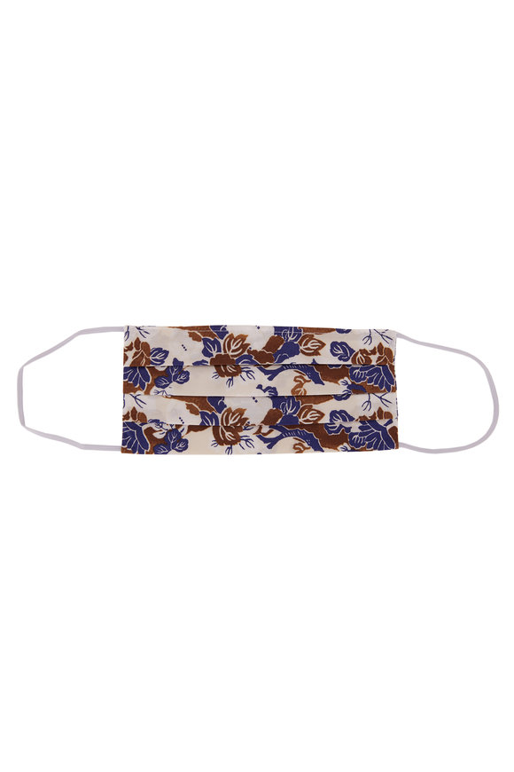 Made by Hand Brown & Blue Floral Mask