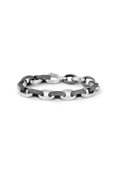 .925Suneera - Joel Sterling Silver Alternating Link Bracelet
