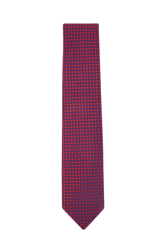 Eton Red & Blue Geometric Silk Necktie