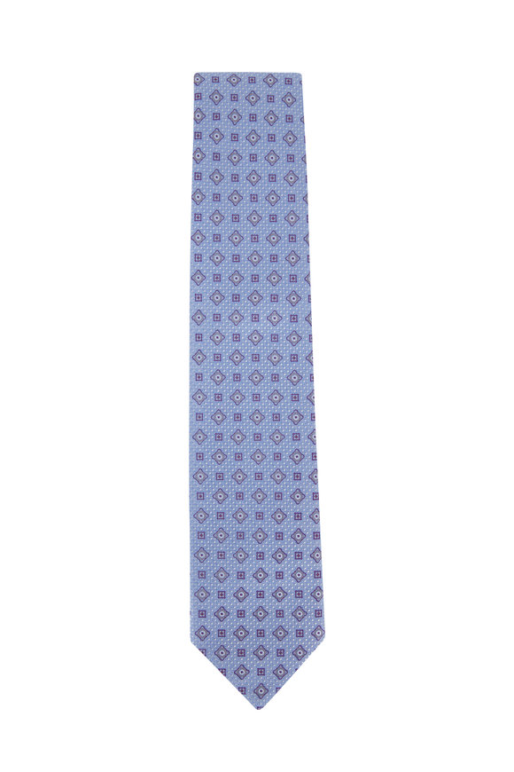 Eton Light Blue Geometric Silk Tie