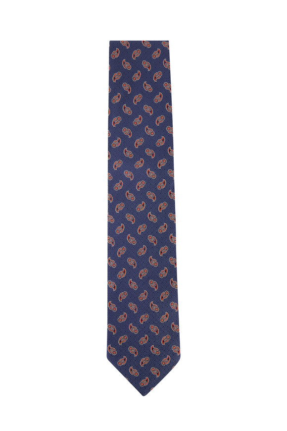 Eton Navy Blue & Orange Paisley Silk Necktie