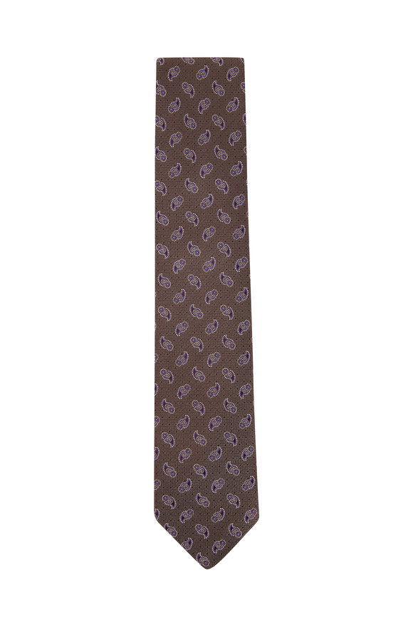 Eton Green & Purple Paisley Silk Necktie