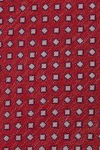 Eton - Red & Blue Geometric Silk & Linen Necktie