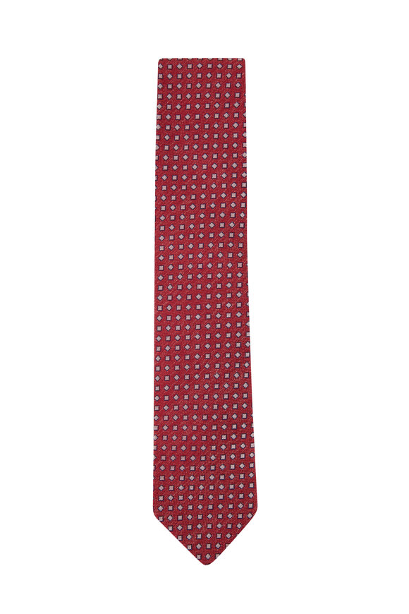 Eton Red & Blue Geometric Silk & Linen Necktie