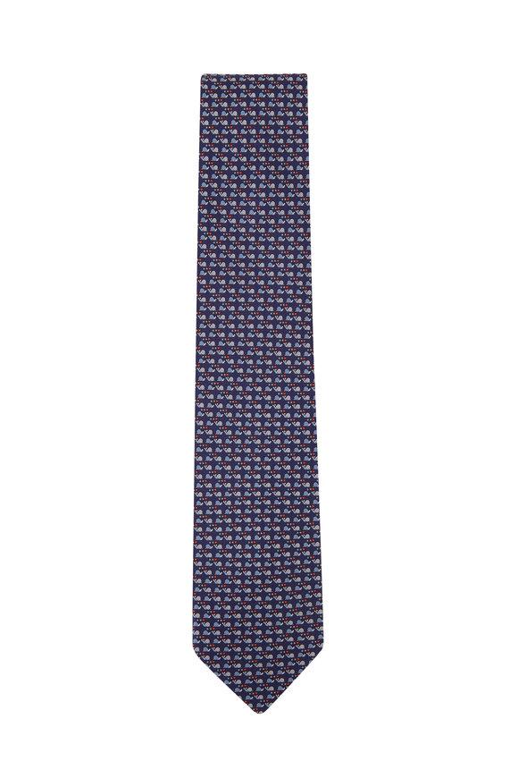 Salvatore Ferragamo Navy Blue Snail Silk Necktie