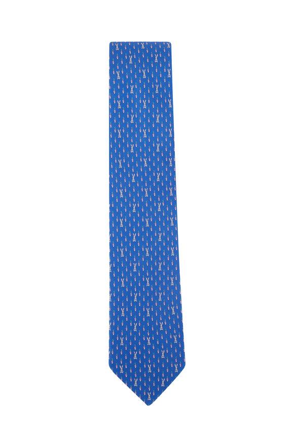 Salvatore Ferragamo Light Blue Bunny & Carrot Print Silk Necktie