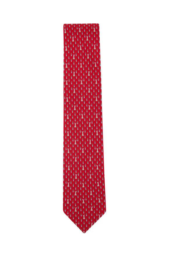 Salvatore Ferragamo Red Bunny & Carrot Print Silk Necktie
