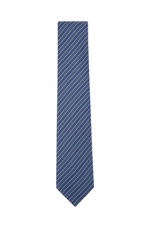 Salvatore Ferragamo Navy Blue Gancini Silk Necktie