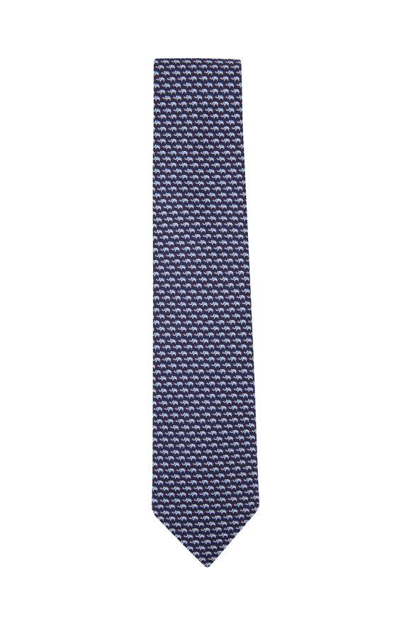 Salvatore Ferragamo Navy Animal Print Silk Necktie