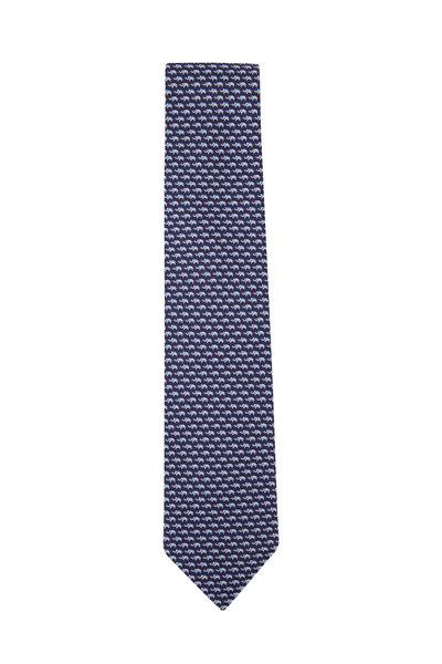 Salvatore Ferragamo - Navy Animal Print Silk Necktie