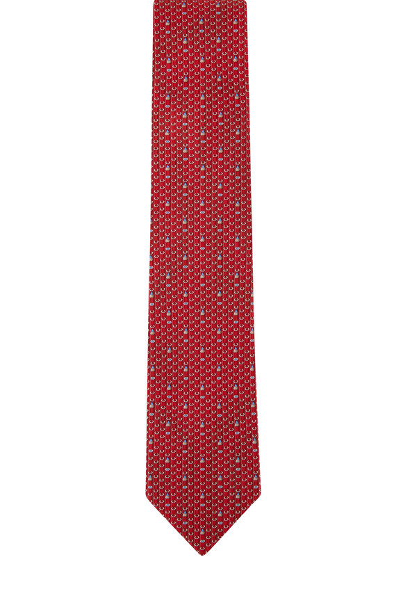 Salvatore Ferragamo Red Pencil Silk Necktie